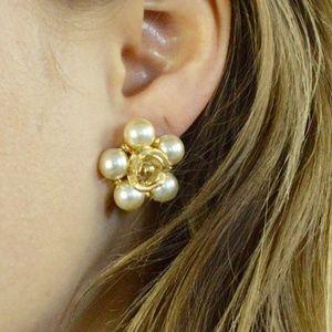 vintage gold rose pearl cluster clip-ons